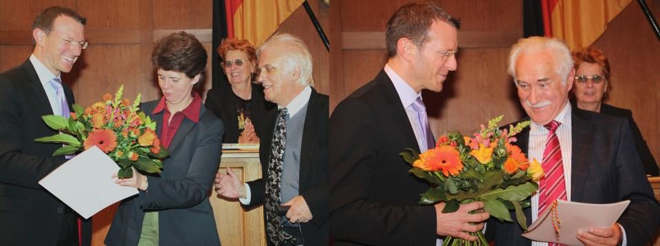 Ehrung von Kathrin Haße und Udo W. Keil für langjährige Mitgliedschaft.